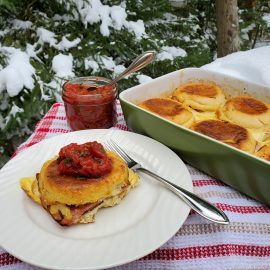 Ham and Eggs Strata with Tomato Basil Jam
